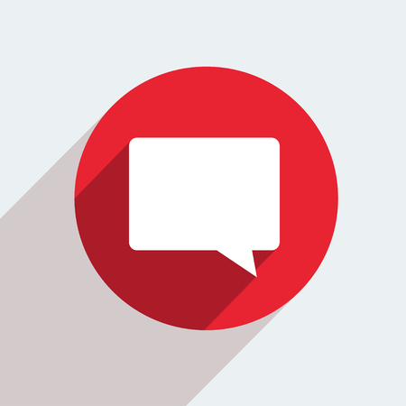 dialog balloon: Vector red circle icon  on gray
