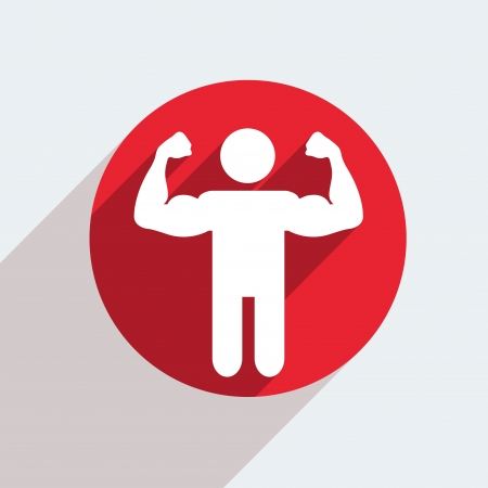 male model torso: Vector red circle icon  on gray