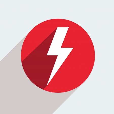 lightning speed: Vector red circle icon  on gray