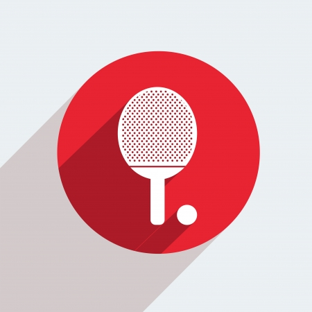 table tennis: Vector red circle icon  on gray