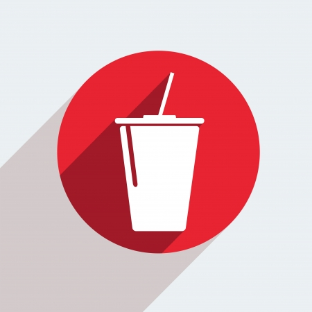 plastic straw: Vector red circle icon  on gray