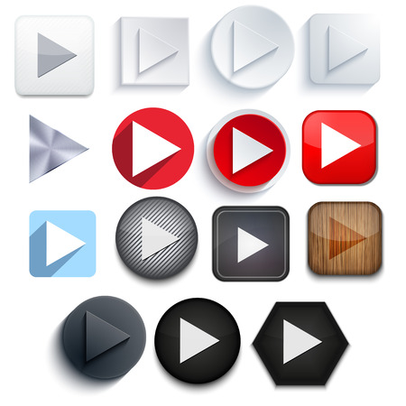 Vector play icon set on white  Vector