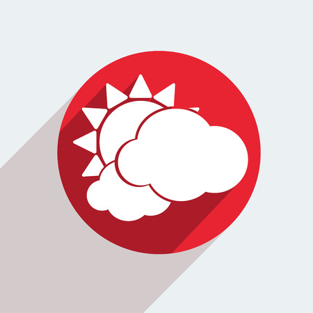 wheather forecast: Vector red circle icon  on gray