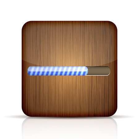 Vector wooden app icon with progress bar on white  Vector