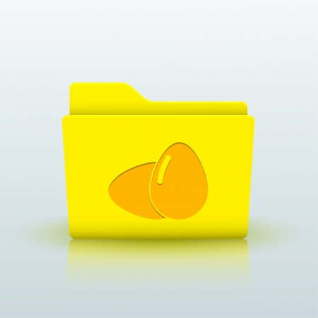 Vector yellow folder on blue background. Eps10 Vector