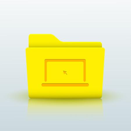 Vector yellow folder on blue background. Eps10 Vector