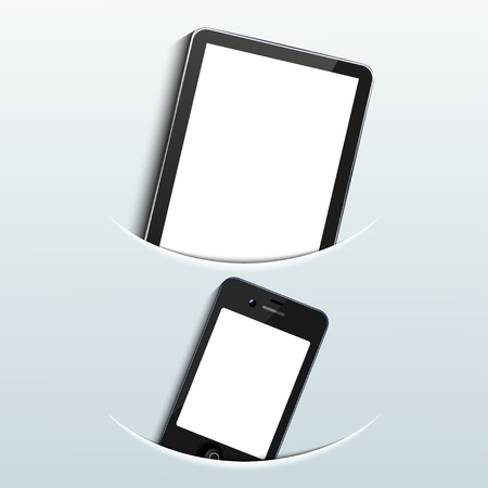 computer tablet with smart phone on blue background. Vector