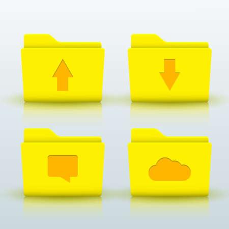 data storage: vector folders icons set