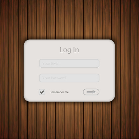 Vector login form on wooden background. Vector
