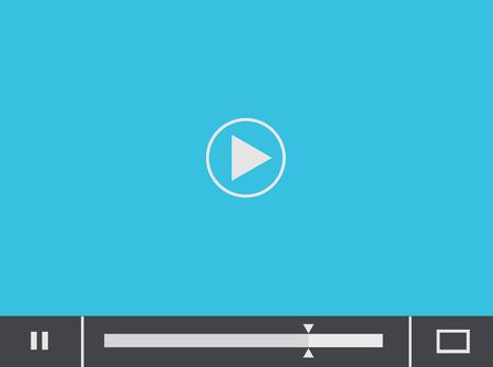 website window: Vector flat player blue background.