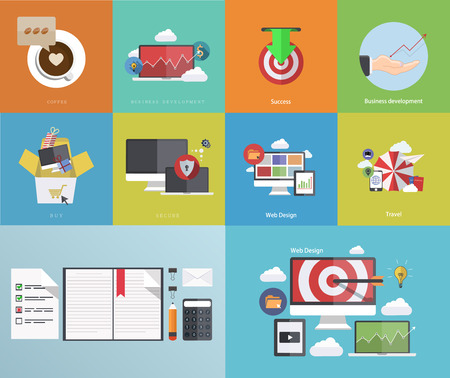 Vector flat modern icons on sample background Illustration