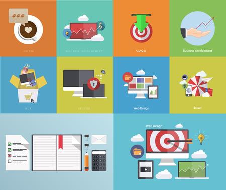 Vector flat modern icons on sample background Stock Illustratie