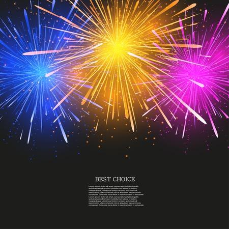 Vector creative fireworks modern background.