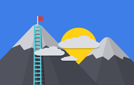 Vector modern flat background. cloud with mountain peak, flag, ladder Vector