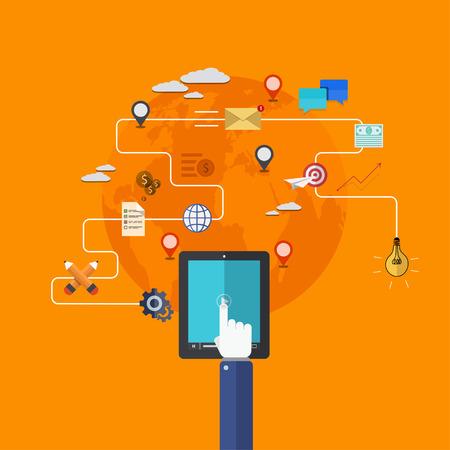 vector modern flat icons set. mobile services. Technology background Illustration