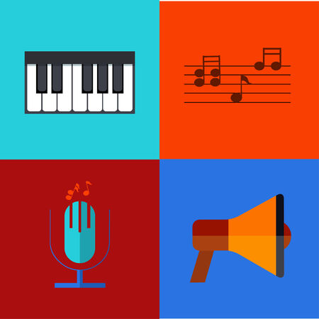 Vector modern flat icons set. Music backgrounds.  Vector