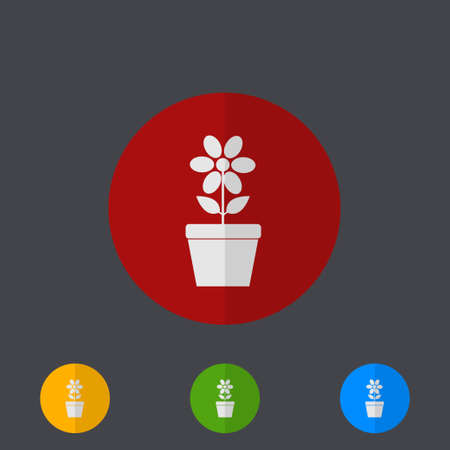 flower pots: Vector modern circle icons set on gray background