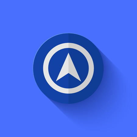 Vector modern flat blue circle icon.    Vector