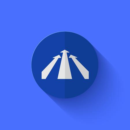 Vector modern flat blue circle icon.   Vector