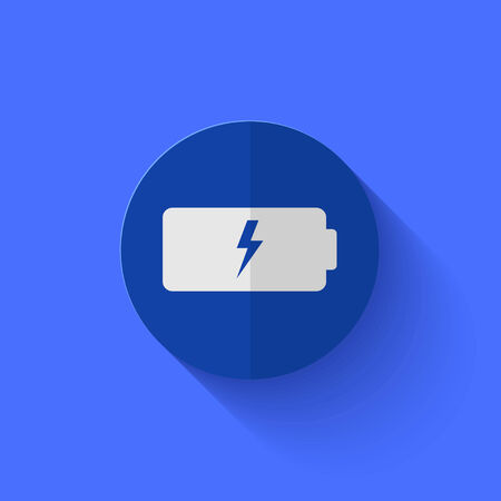 cell charger: Vector modern flat blue circle icon.