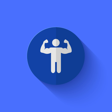male model torso: Vector modern flat blue circle icon.    Illustration