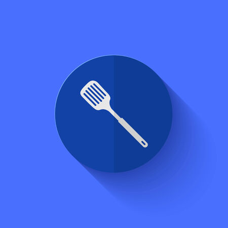 slotted: Vector modern flat blue circle icon.