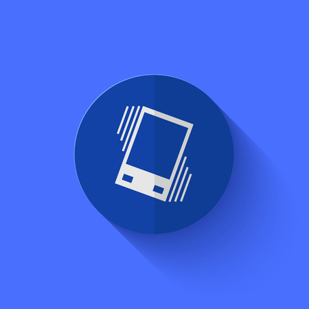 sleepiness: Vector modern flat blue circle icon.