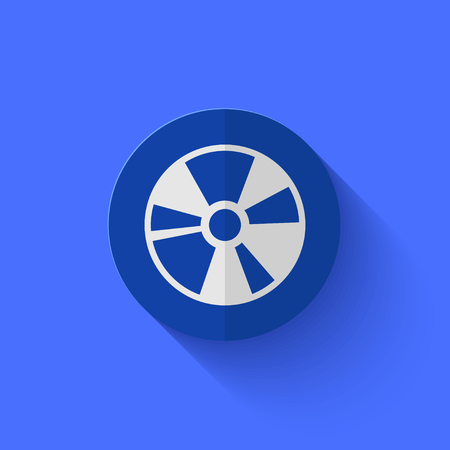 blueray: Vector modern flat blue circle icon.