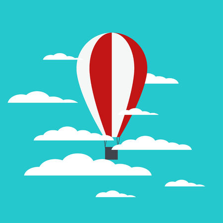 Vector hot air balloon with clouds. Vector