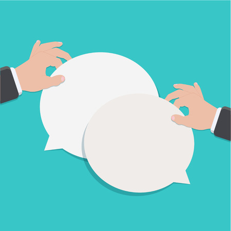 Vector modern flat bubble speech on blue background. business element design. Eps10 Vector