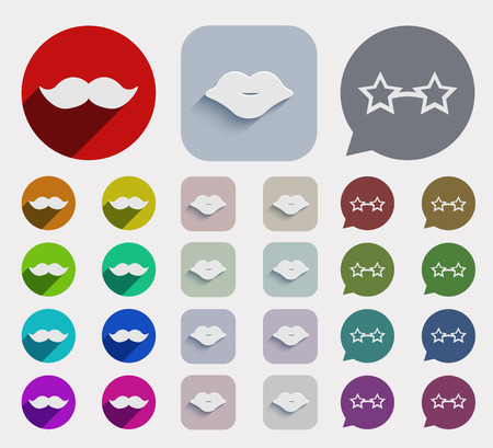 lips close up: Vector flat party icons set. circle and square variants