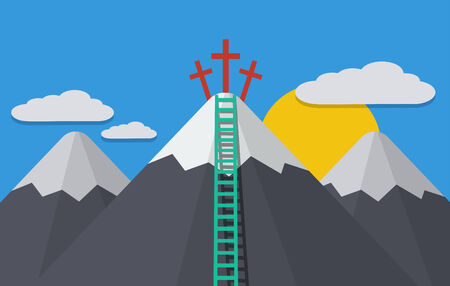 peak: Vector modern flat background. cloud with mountain peak, cross, ladder Illustration