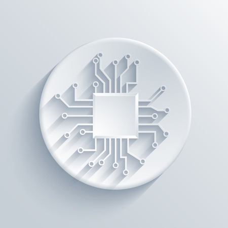circuitos electricos: Vector icono de la tarjeta de circuitos moderno. Eps 10