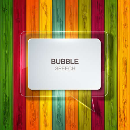 Vector bubble speech icon on colorful wooden background. Business development,education. Vector