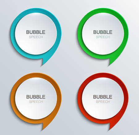 blue button: Vector modern bubble speech icons set. Business development. 4 colors