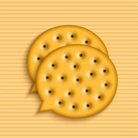 Vector modern cookie bubble speech. Food background.  Vector