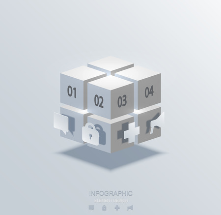 Vector modern cube infographics element design. Business development. concept background.  Vector