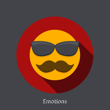 emotion faces: Vector emotion flat icon on gray background. Fathers day element design