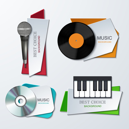 Vector modern music banners set. Creative party backgrounds.