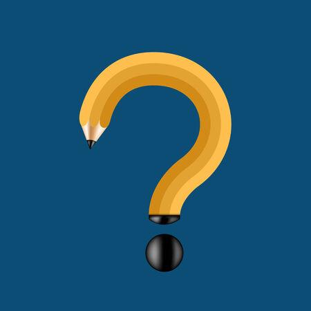 question mark: Vektor-Konzept Bleistift und Fragezeichen auf blauem Hintergrund. Eps 10