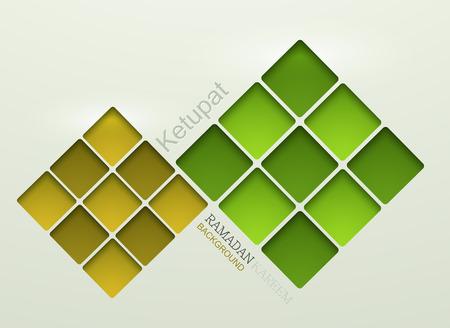 ベクトル ketupat 要素設計。ラマダンのカリームの背景。