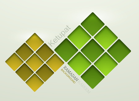 Vector ketupat element design. ramadan kareem background.