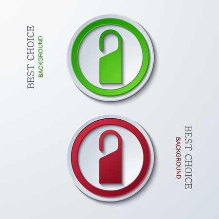 quiet room: Vector modern circle icons on sample background. 2 variants. Eps10
