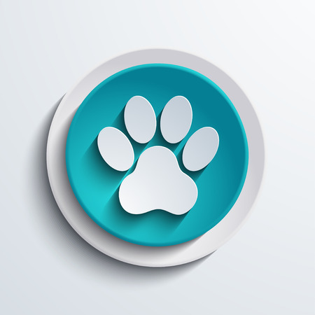 dog paw: vector modern blue circle icon  Web element
