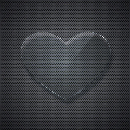 metal grid: glass heart on metal grid background.