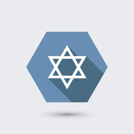 hexagram: vector modern flat icon with long shadow. Illustration