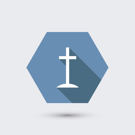 protestant: vector modern flat icon with long shadow. Illustration