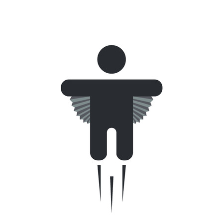 flying man: Vector modern flying man icon on white Illustration