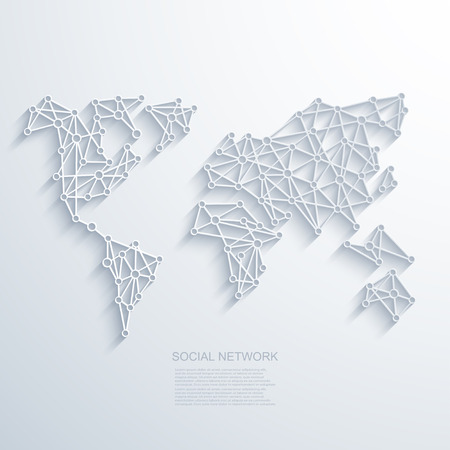 global: Vector modern social network background.