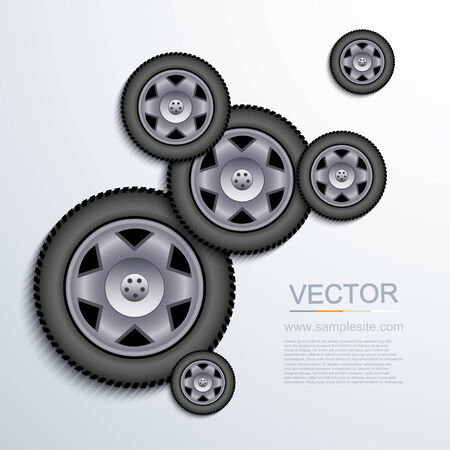 alloy wheel: modern wheels background. Illustration